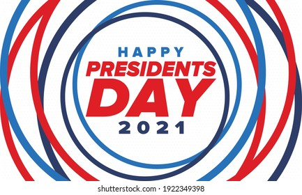 Happy Presidents day in United States. Federal holiday in America. Celebrated in February. Patriotic american elements. Poster, banner and background. Vector illustration