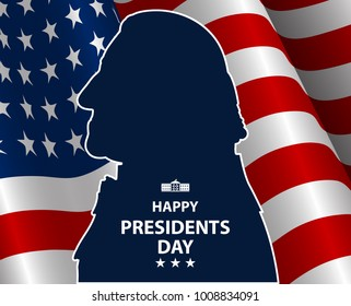 Happy Presidents Day in USA Background. George Washington silhouette with flag as background. United States of America celebration. Vector illustration.