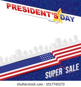 Happy Presidents Day of USA. Template banner design element with text and US flag.