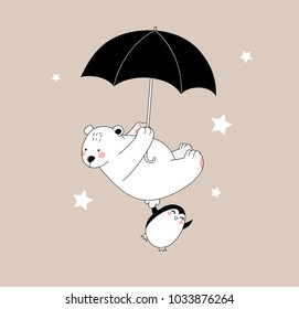 happy pretty white bear and little penguin are flying with umbrella, isolated childish beautiful illustration in pastel tones for boy's and girl's clothes,wallpaper,card,wall art,fabric,textile,wear