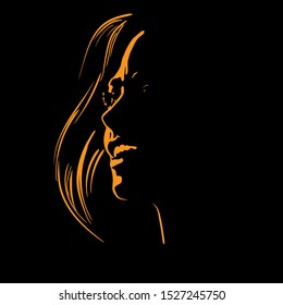 Happy pretty woman Face silhouette in contrast backlight. Vector. Illustration.