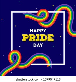 Happy Pride Day concept with rainbow color ribbons on blue background.