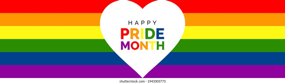 Happy Pride Month Banner. Gay Pride Banner with LGBT Flag Background. Vector Banner for Gay Pride Month 2021