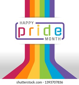 Happy pride month banner with typography text on line colorful rainbow Bend up vector design