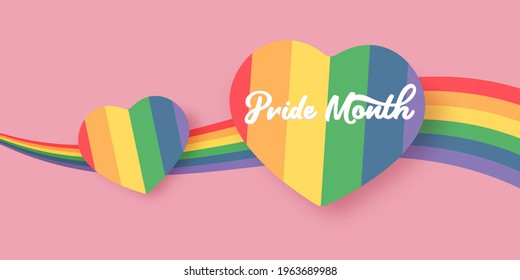 Happy pride month horizontal banner with heart and pride color flag isolated on pink background. Pride month or pride day poster, flyer, invitation party card deign template.