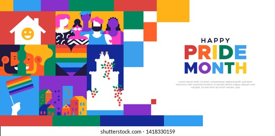 Happy Pride month landing web page template for lgbt rights or social issues event in june. Colorful  mosaic illustration includes gay couple, diverse people group and more.