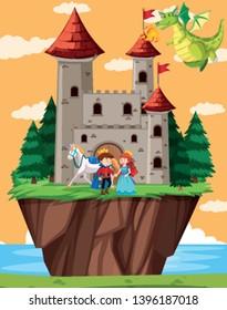 Happy prince and princess illustration
