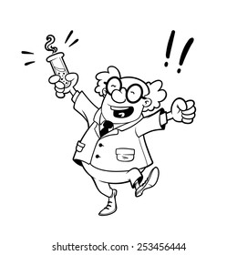 Happy professor with a chemical flask in his hand. Vector outline illustration on a white background