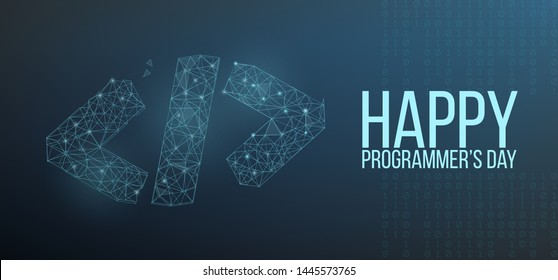 Happy programmer day banner or greeting card with code symbol in polygonal wireframe style. Vector illustration.