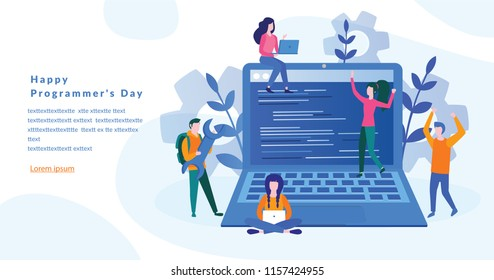 Happy Programmer's Day Concept for web page, banner, social media. Vector illustration, programmer coding a new project using computer, Web Development, website screens, program code, engineering.
