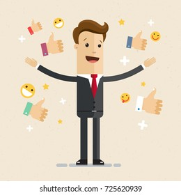 Happy and proud businessman with many thumbs up hands around him. Business compliment concept. Vector, illustration, flat