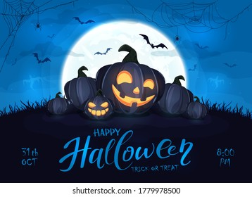 Happy pumpkins on blue Halloween background with full moon. Card with Jack O' Lanterns, bats and spiders. Illustration can be used for children's holiday design, cards, invitations and banner