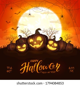 Happy pumpkins on orange Halloween background with full moon. Card with Jack O' Lanterns, bats and spiders. Illustration can be used for children's holiday design, cards, invitations and banner