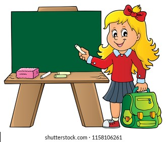 Happy pupil girl theme image 8 - eps10 vector illustration.