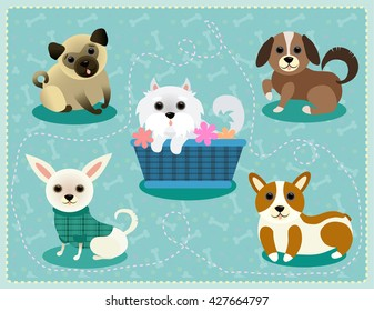 Happy puppies set, pug, chihuahua, corgi, spaniel, west highland terrier puppies, dogs set