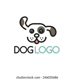 Happy Puppy. Abstract Dog Logo Design Template. Vector Illustration.