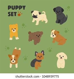 happy puppy character set. hand drawing style vector illustration flat design