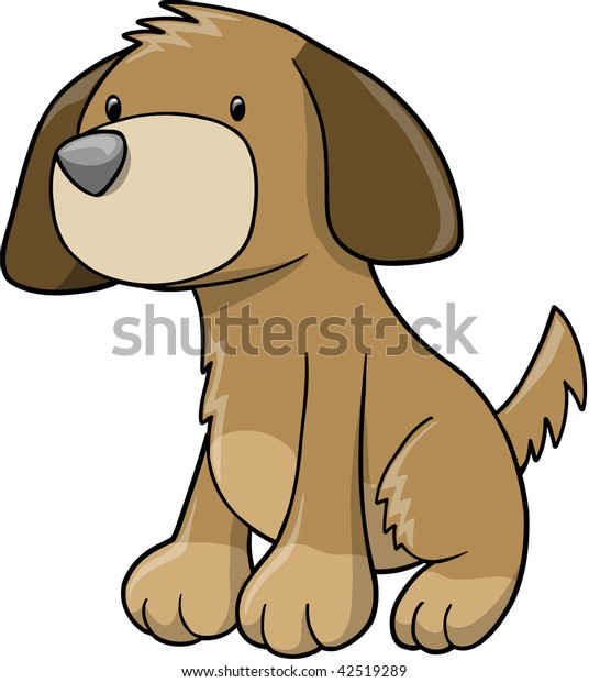 Happy Puppy Dog Vector Illustration