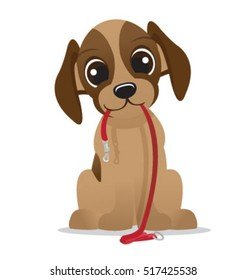Happy puppy with a leash vector