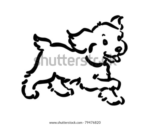 Dog American Cocker Spaniel Sitting. Happy Puppy With A Bone.. Royalty Free  Cliparts, Vectors, And Stock Illustration. Image 108603802.