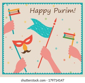 happy Purim card with people hands holding flag and mask