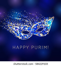Happy Purim celebrating card. Decorative mask gold and blue colored. Hag purim sameach - happy purim, vector greetings.