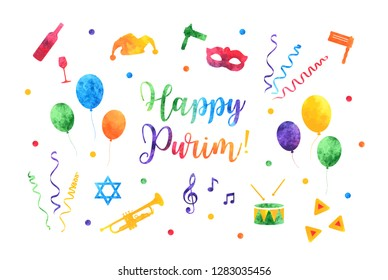 Happy Purim Jewish Holiday greeting card. traditional Purim carnival symbols watercolor design elements, icons isolated on white background. Vector illustration