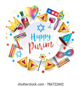 Happy Purim Jewish Holiday greeting card with traditional purim symbols, noisemaker, masque, gragger, hamantaschen cookies, crown, star of david, festival decoration, carnival vector ISRAEL, jerusalem