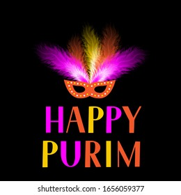 Happy Purim lettering and mask with feathers isolated on black background. Traditional Jewish carnival poster. Vector template for masquerade party invitation, greeting card, banner, flyer.