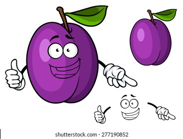 Happy purple cartoon plum fruit character giving a thumbs up, isolated on white background