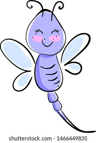 Happy purple dragonfly, illustration, vector on white background.
