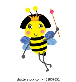Happy Queen Bee holding scepter animal cartoon character isolated on white background.