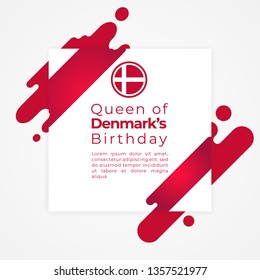 Happy queen of Denmark's birthday vector template illustration.