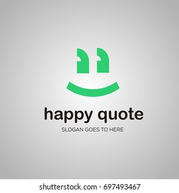 Happy quotes smile logo vector logo template