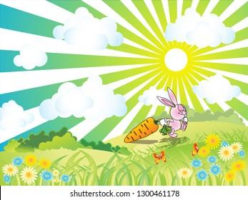 happy rabbit got a big carot vector illustration background cartoon landscape