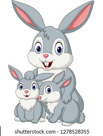 Happy rabbits family