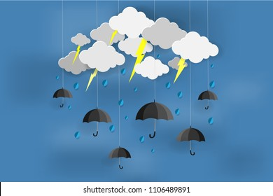 Happy Rainy day with Monsoon season, Origami made umbrella and clouds, Paper art idea and digital craft.