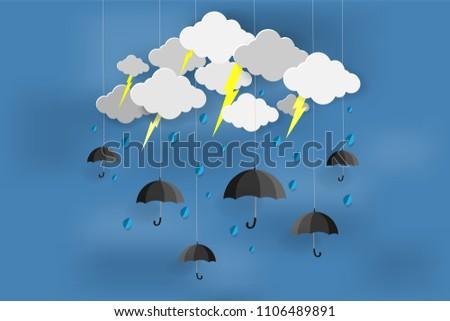Happy Rainy Day Monsoon Season Origami Stock Vector Royalty Free