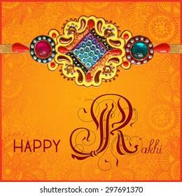 Happy Rakhi greeting card for indian holiday Raksha Bandhan with original handmade bangle with gold and jewel on floral orange background, vector illustration