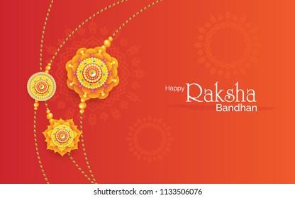 Happy Raksha Bandhan Background Design with Creative Rakhi Illustration - Indian Religious Festival Raksha Bandhan Background Vector Illustration