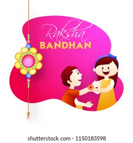 Happy Raksha Bandhan banner or poster design with illustration of brother and sister celebrating Raksha Bandhan Festival.