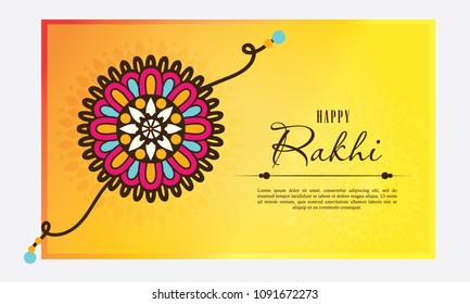 Happy Raksha Bandhan celebration greeting card with colorful rakhi on color background vector illustration concept.