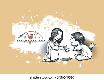 Happy Raksha Bandhan celebration Poster. Beautiful frame with illustration of cute little sister and brother. Hand Draw Sketch Design Illustration.