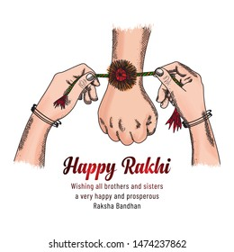 Happy Raksha Bandhan. colorful sketching hands of brother and sister, sister is to tie the knot of rakhi to our brothers hand for taking promise of caring and and lots of love.