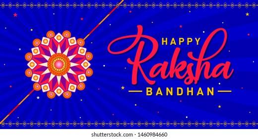 Happy Raksha Bandhan Concept, Logo, Greetings, Design, Template, Banner, Icon, Poster, Unit, Label, Web Header, Mnemonic on blue festive rays background. Rakhi Festival of India - Vector, Illustration