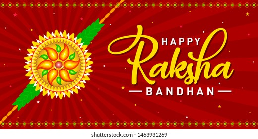 Happy Raksha Bandhan Concept, Logo, Greetings, Design, Template, Banner, Icon, Poster, Unit, Label, Web Header, Mnemonic on Red festive rays background. Rakhi Festival of India - Vector, Illustration