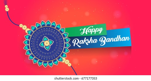 Happy Raksha Bandhan creative greetings vector illustration for banner, poster, and print. Ornamental rakhi design with decorative elements. Rakshan Bandhan a indian festival for brothers and sisters.