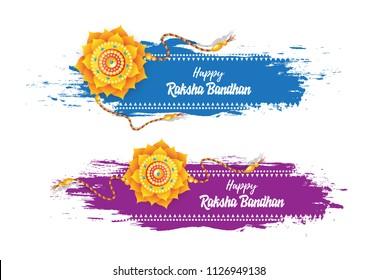 Happy Raksha Bandhan Festival Banner Design Set