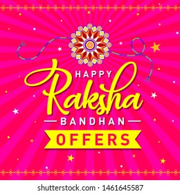 Happy Raksha Bandhan Offer, Discount, off, Concept, Logo, Greetings, Design, Template, Banner, Icon, Poster, Unit, Label, Web Header, Mnemonic on festive background. Rakhi Festival of India - Vector