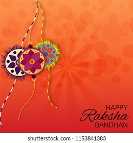 Happy raksha bandhan poster, wallpaper and background design. vector illustration of designer rakhi.